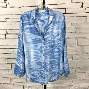 Cloth and Stone Chambray Button Up LS Blouse 1474